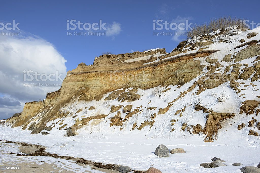 Eroded and washout of sanddunes on baltic sea royalty-free stock photo