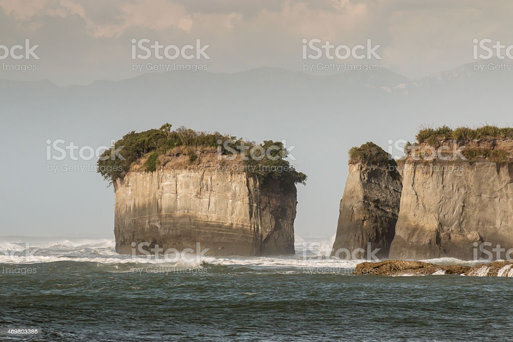 eroded cliffs at Cape Foulwind on West Coast stock photo