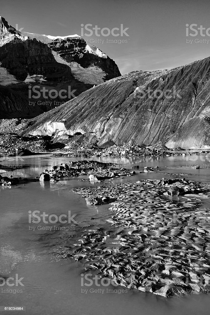 Eroded Environment Athabasca Glacier stock photo