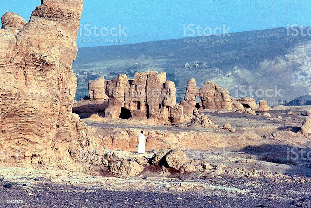 Eroded Han Dynasty Era Ruins in Turfan Basin Xinjiang China stock photo