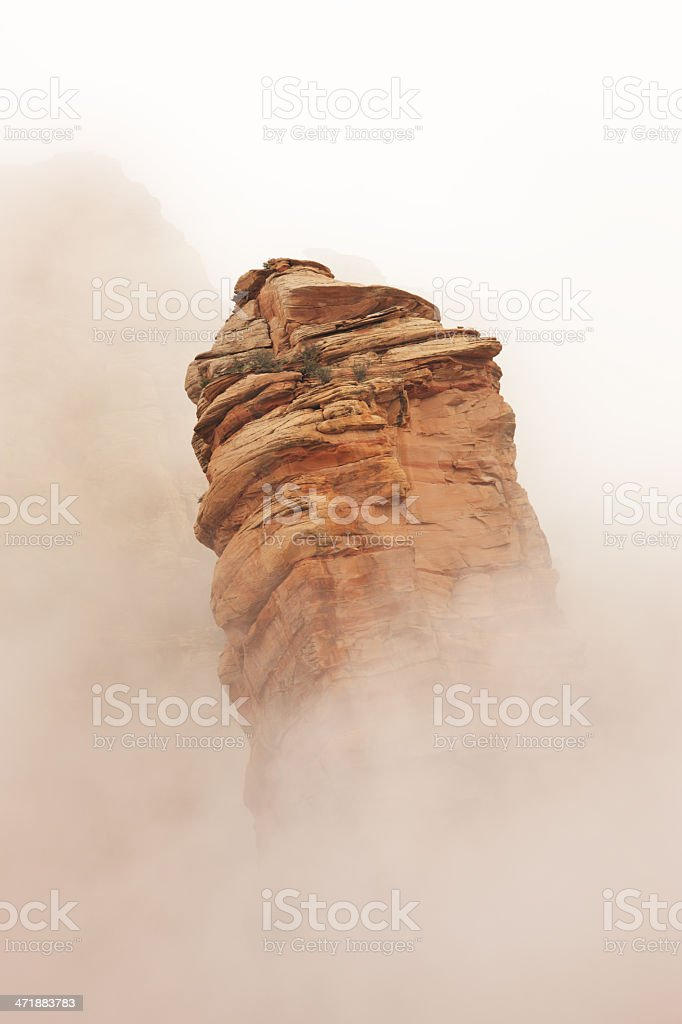 Eroded Rock Canyon Hoodoo Fog Sedona royalty-free stock photo