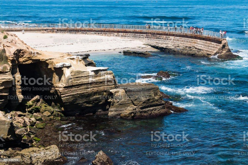 Eroded Sandstone Cliffs Near the La Jolla Children's Pool stock photo