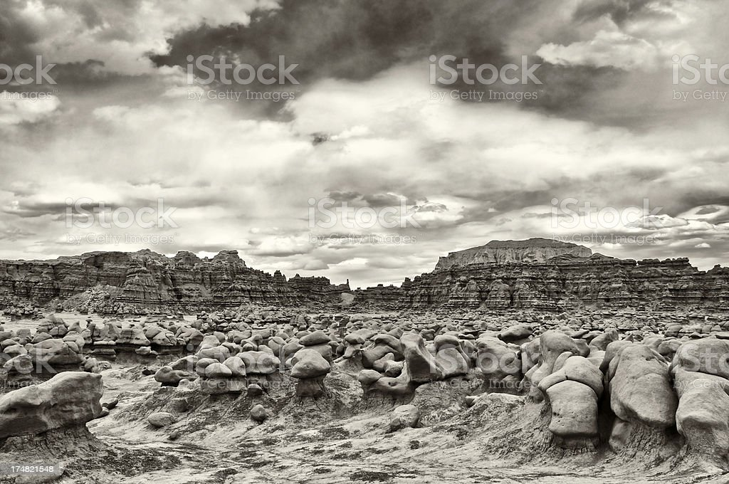 Eroded Sandstone Formations, Goblin Valley State Park, Hanksville, Utah, USA stock photo