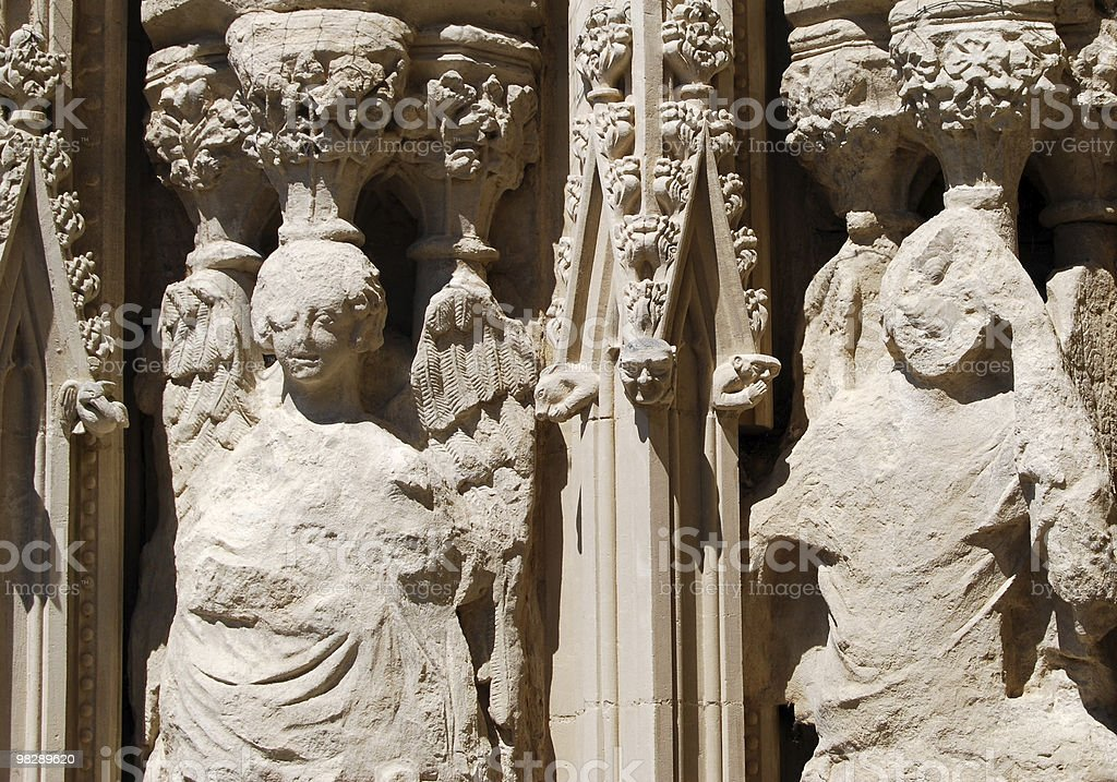 Eroded Stonework Sculptures. Exeter Cathedral. Devon. England stock photo