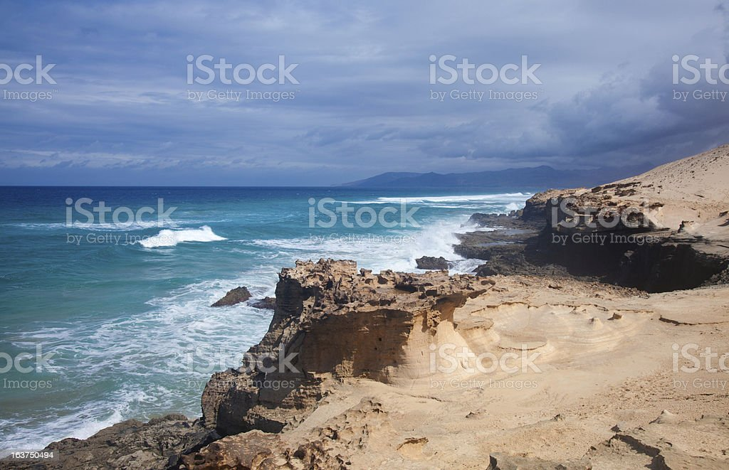Eroded  west coast of Fuerteventura stock photo