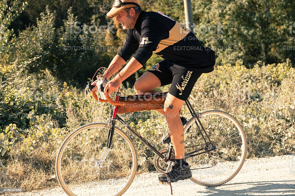 L'Eroica 2014 - Close up of a 'vintage' cyclist stock photo