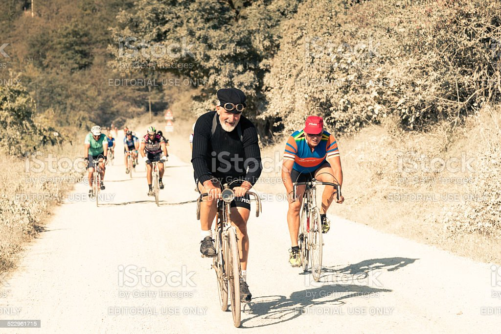 L'Eroica 2014 - Vintage cycling race near Siena stock photo