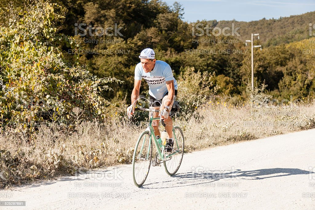 L'Eroica - Close up of a vintage cyclist stock photo