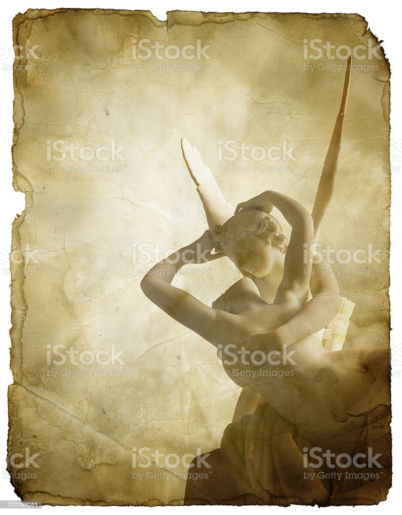 Eros and Psyche Sculpture on Grungy Paper (with Clipping Path) stock photo