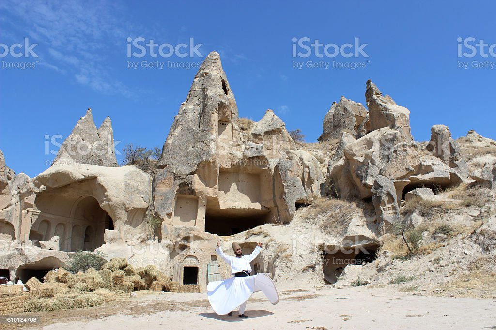 Erosion of a Cappadocia and whirling stock photo