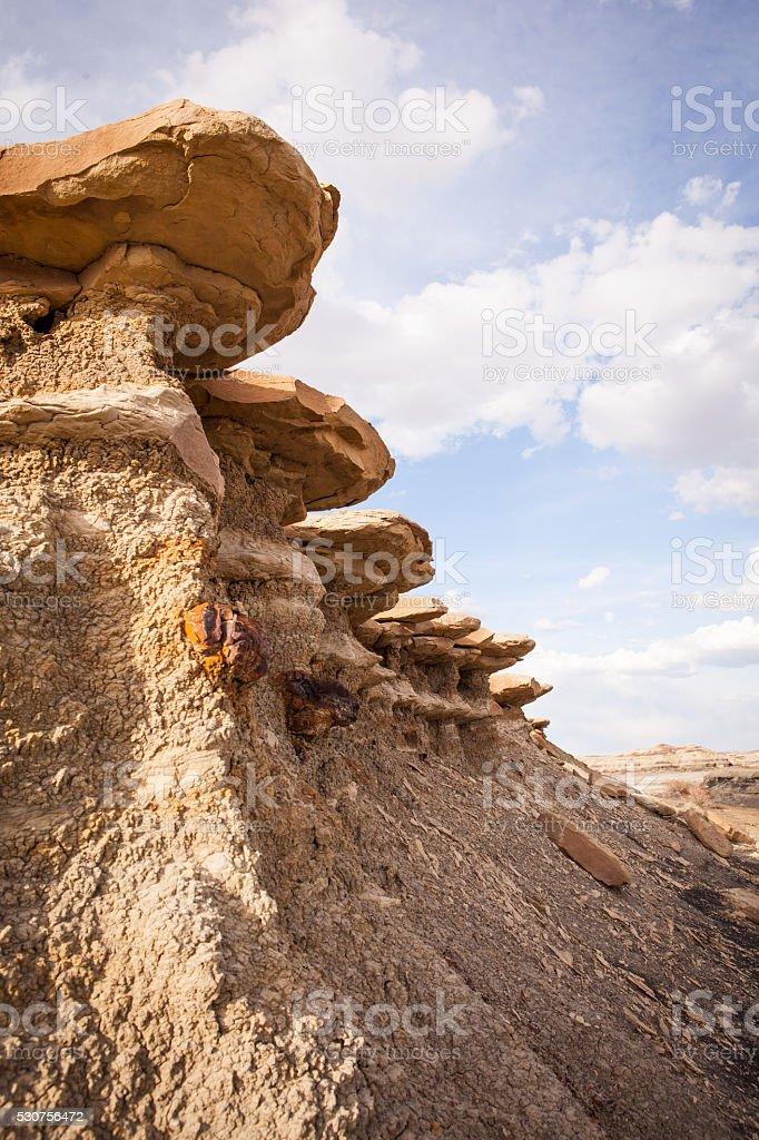 Erosion of sedimentary material at Bisti Badlands stock photo