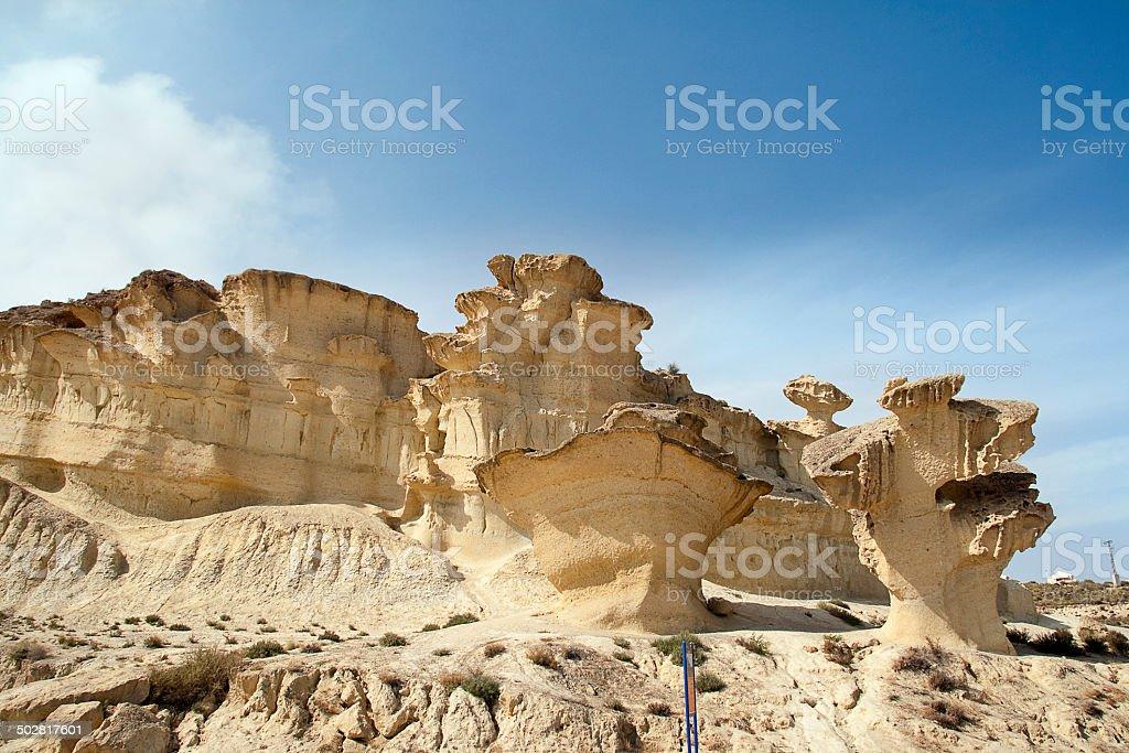 Erosion on rocks formation in Bolnuevo, Murcia, Spain stock photo