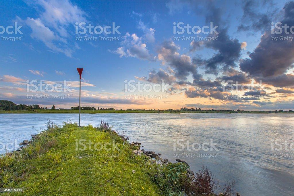 Erosion preventing Pier in the Rhine stock photo