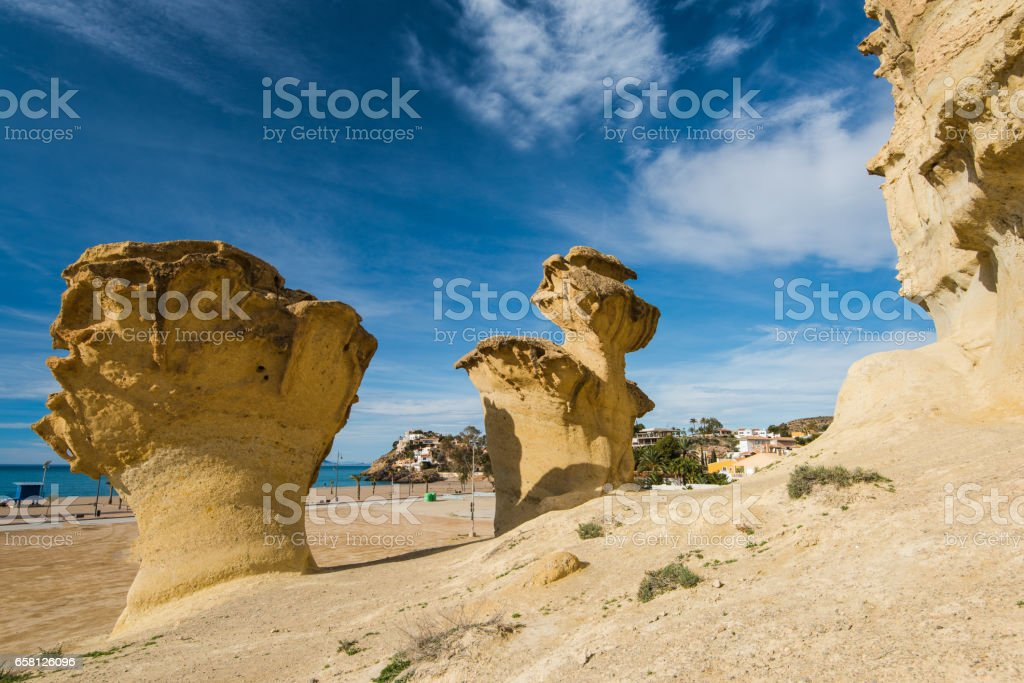 Erosion rock natural formations in Bolnuevo, Spain stock photo