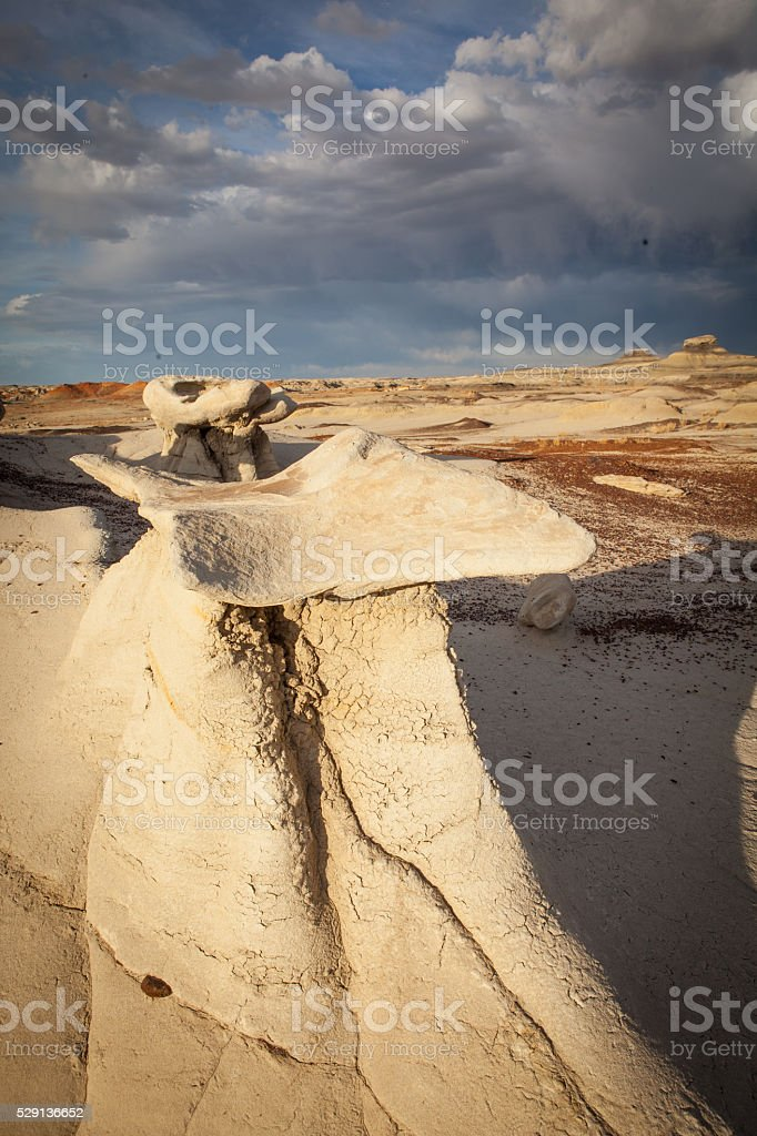 Erosion sculpted rock formations at Bisti Badlands in New Mexico stock photo