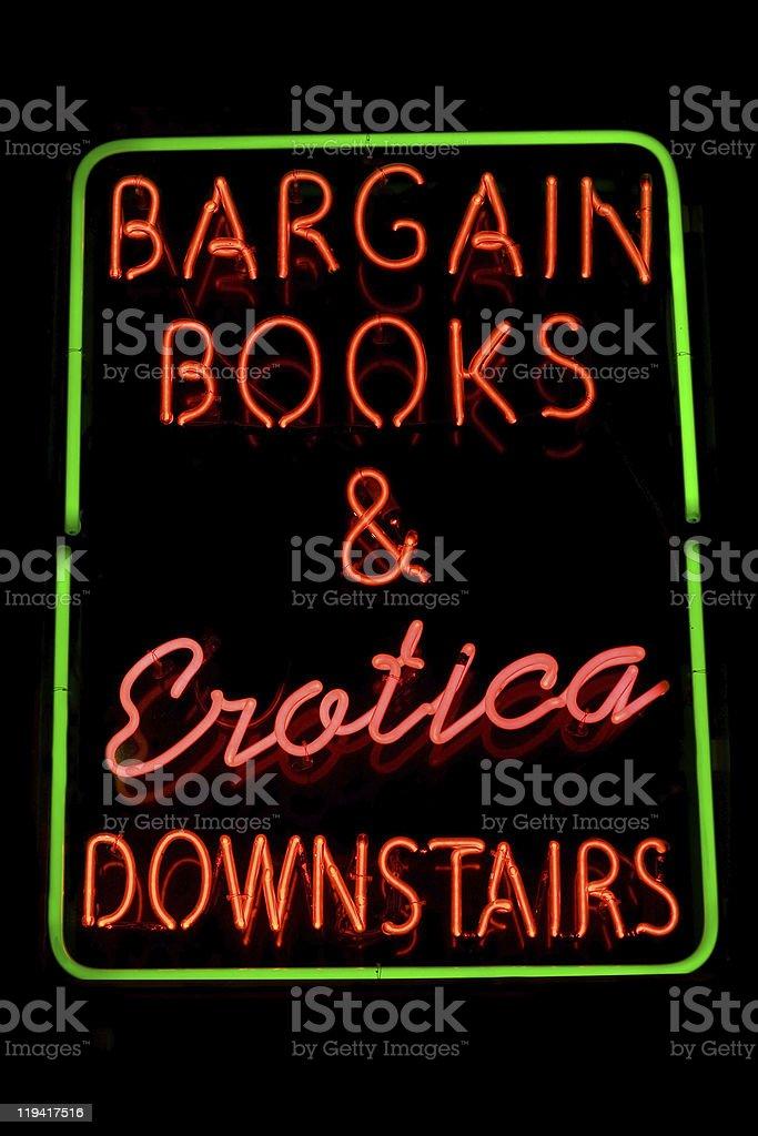 Erotic bookstore neon sign royalty-free stock photo