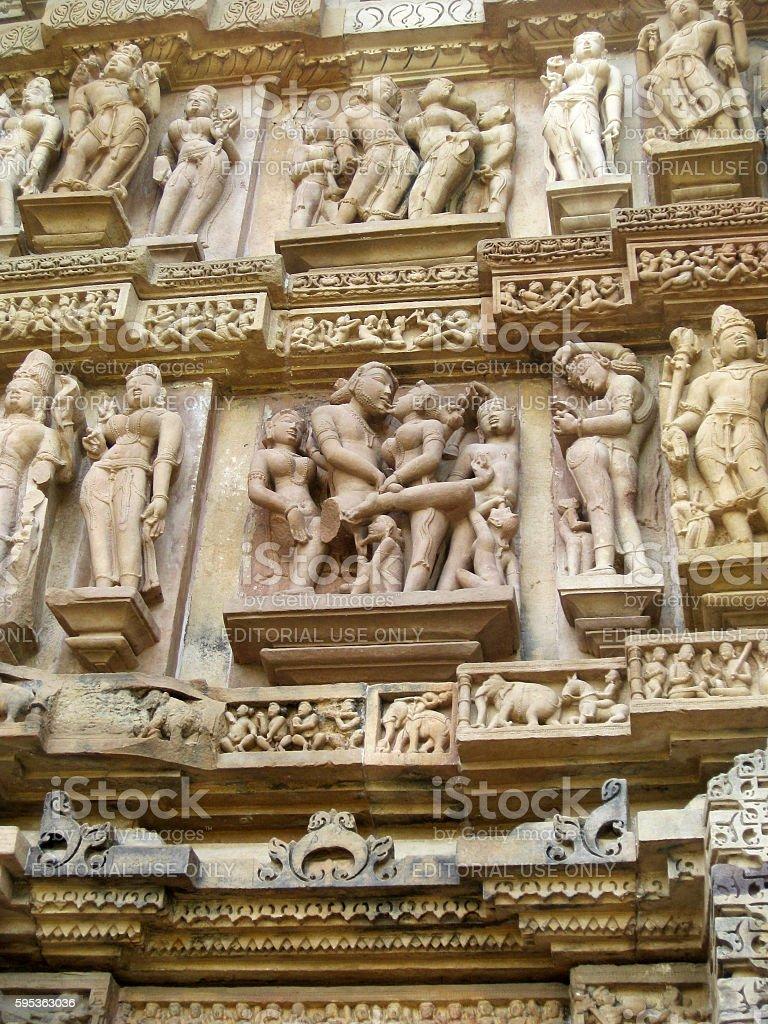 Erotic figures on the Lakshmana temple in Khajuraho stock photo