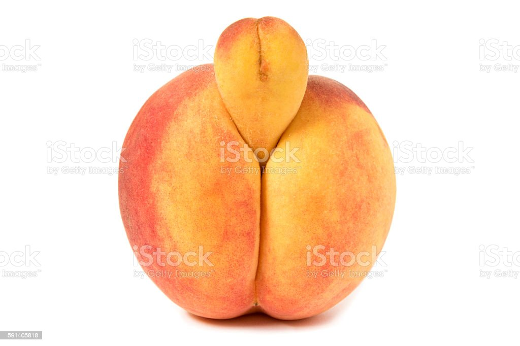 Erotic Peach front view, strange growth like penis, on white stock photo