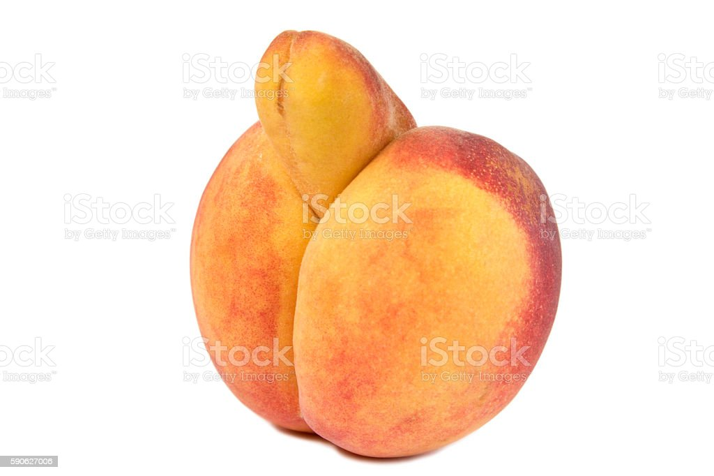Erotic Peach, strange growth like a penis, isolated on white stock photo
