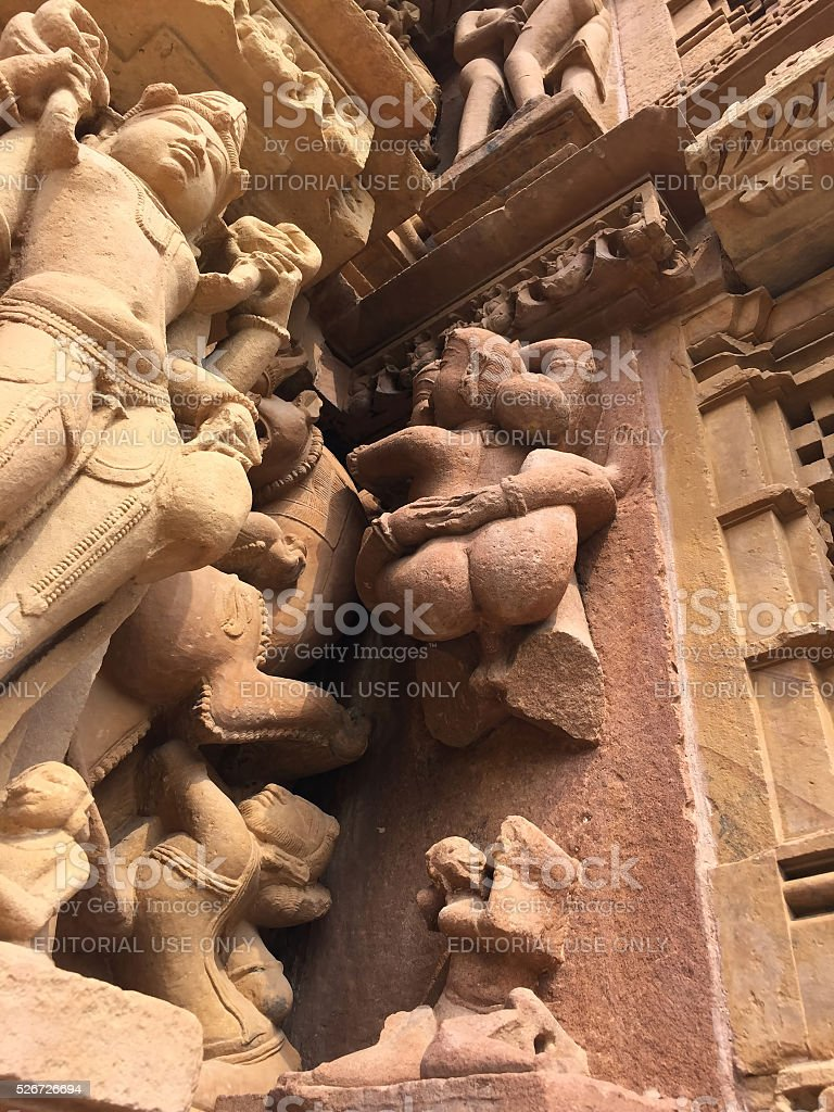 Erotic relief on a hindu temple, India stock photo