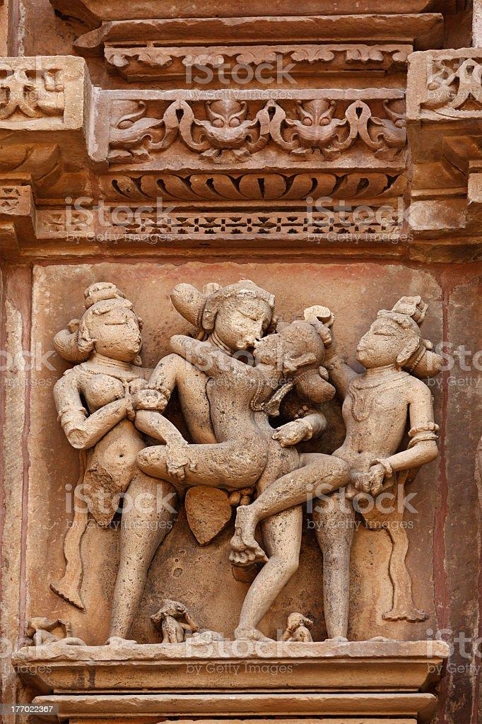 Erotic sculptures, Khajuraho, India stock photo