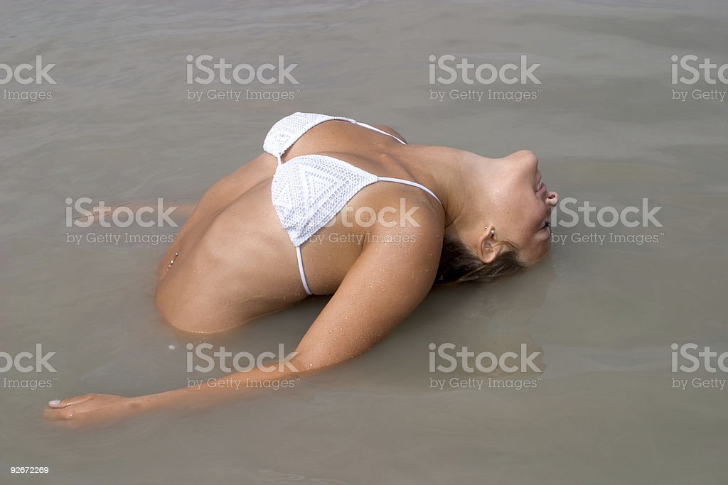 Erotic wet bikini girl water royalty-free stock photo
