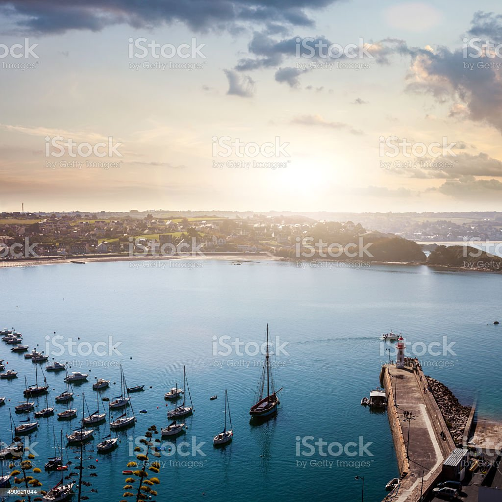 Erquy harbor and bay seen from the cliffs, France, Brittany stock photo