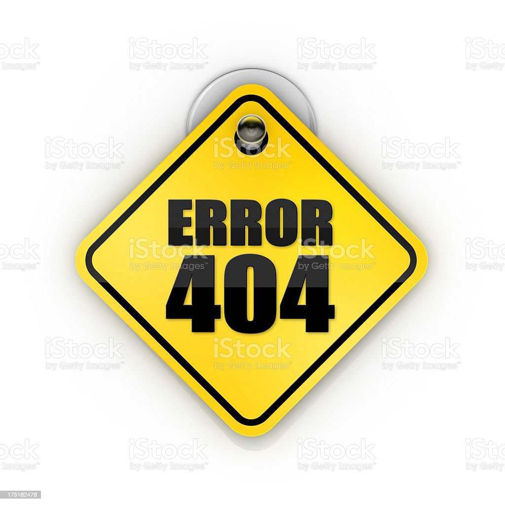 Error 404 or page not found Sticky warning stock photo