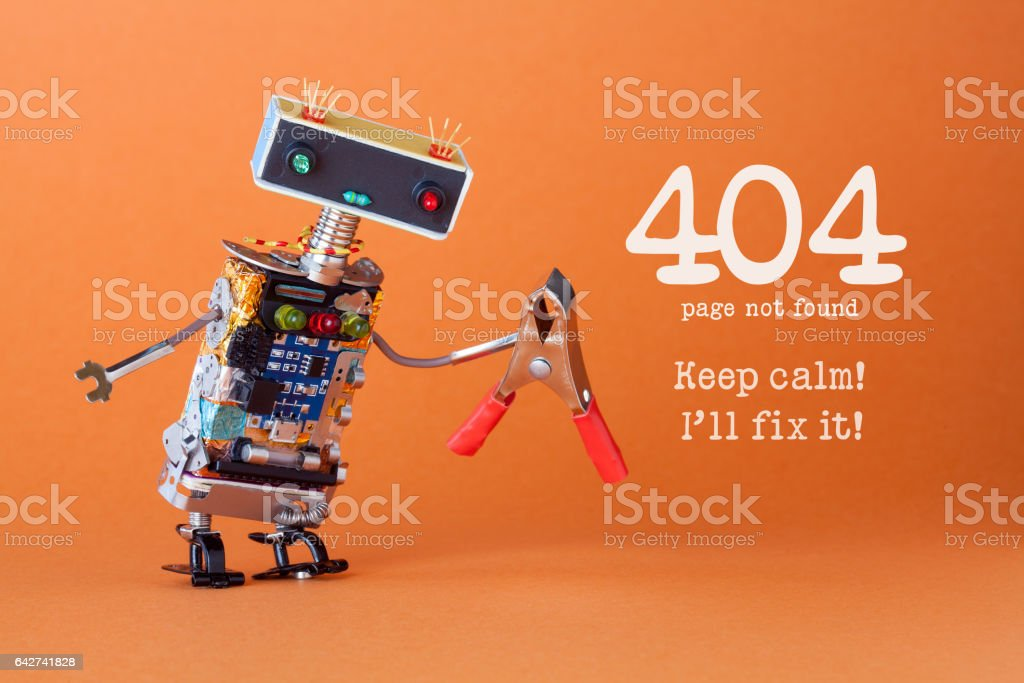 Error 404 page not found page. Keep calm I'll fix it. Friendly robotic toy with red pliers. Fun handyman character, colorful head red blue light bulbs eyes. orange background stock photo