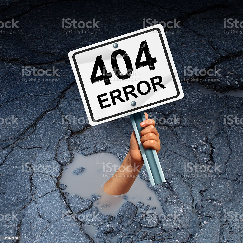 Error 404 Page Not Found stock photo