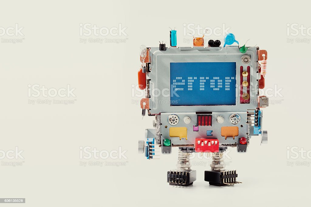 Error 404 page template for website. Retro robot with monitor stock photo