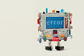 Error 404 page template for website. Retro robot with monitor