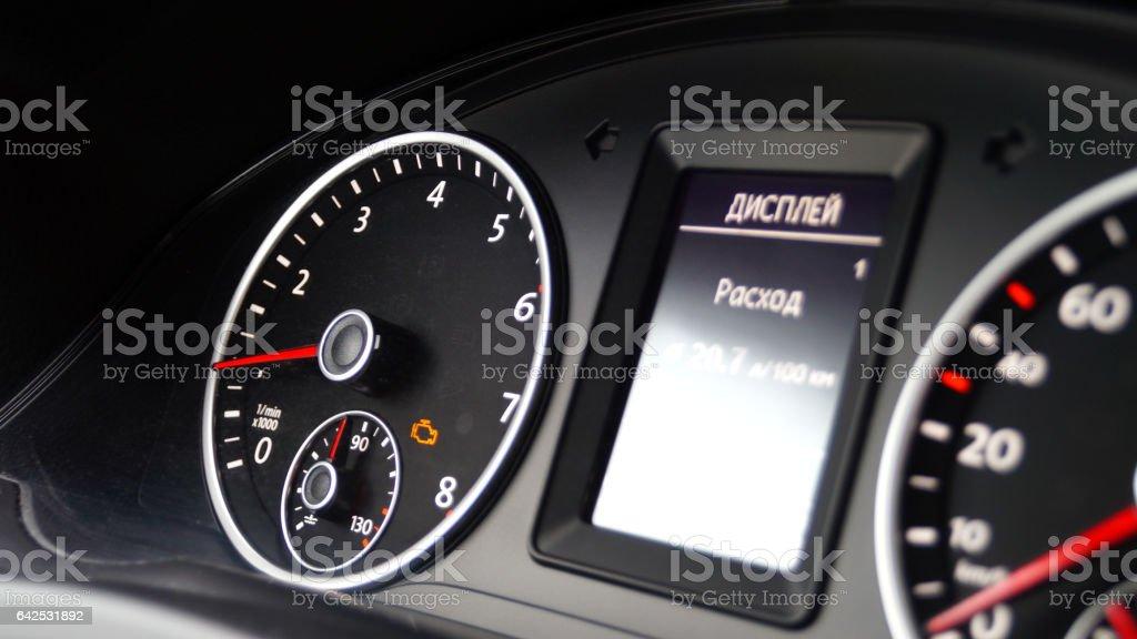 Error indicator on instrument panel of vehicle stock photo