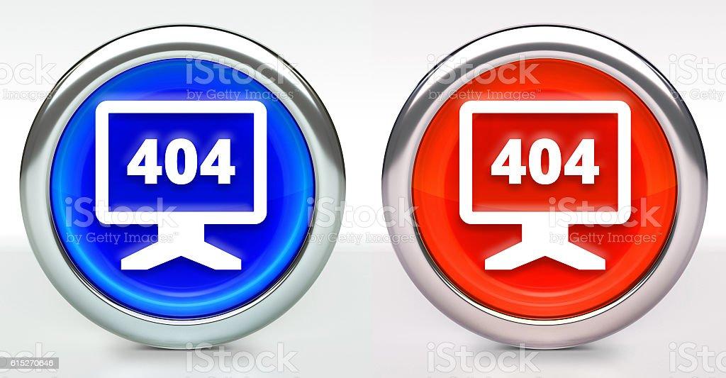 404 Error Monitor Icon on Button with Metallic Rim stock photo