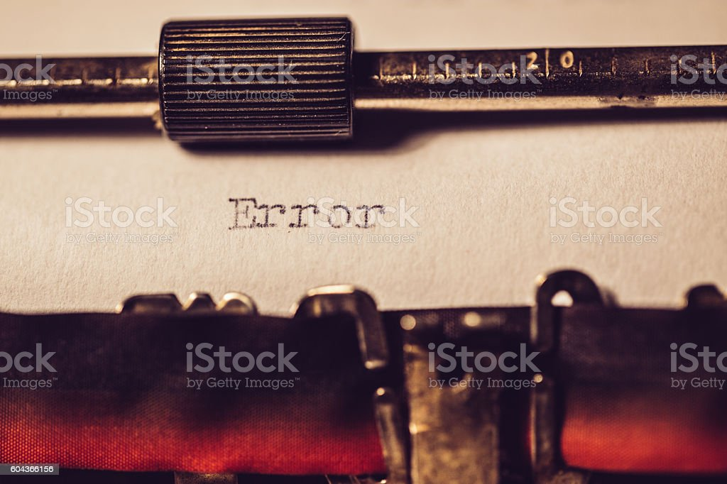 'Error' typed using an old typewriter stock photo