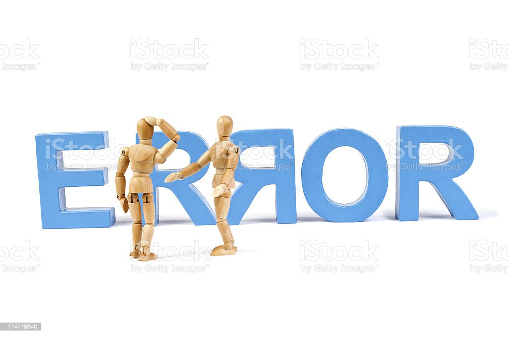 Error  - Wooden Mannequin demonstrating this word royalty-free stock photo