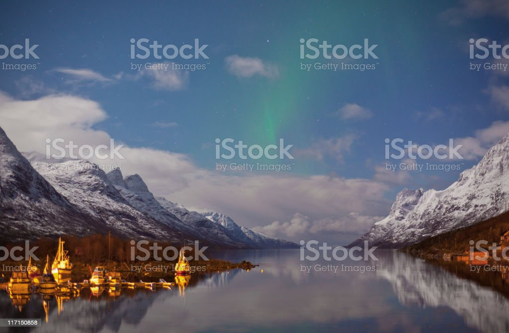 Ersfjord Aurora stock photo