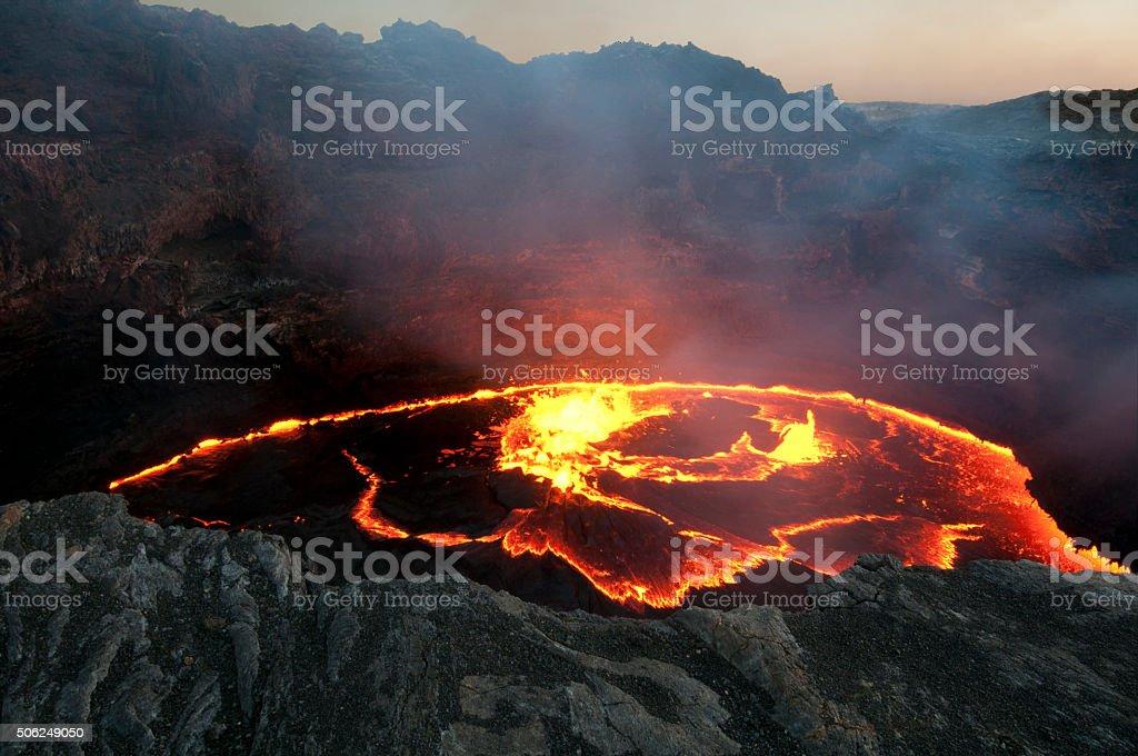 Erta Ale in Flames stock photo