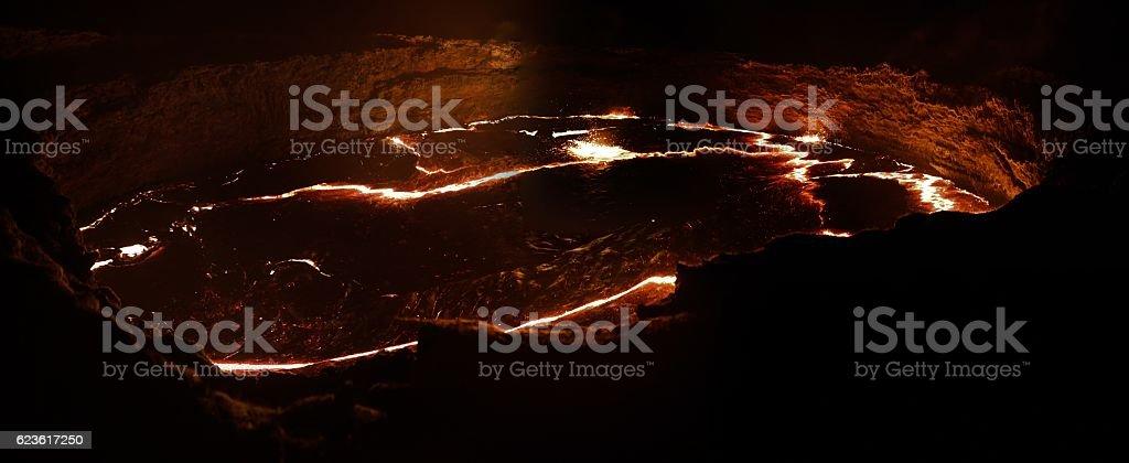 Erta Ale volcano crater, melting lava, Danakil depression, Ethiopia stock photo