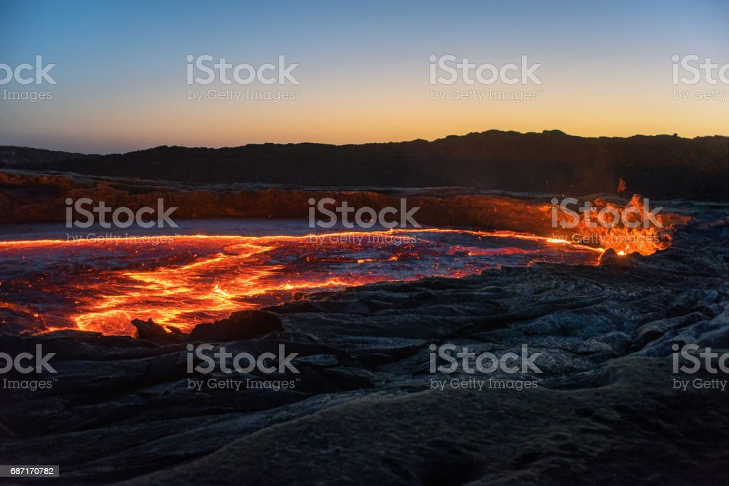 Erta Ale volcano stock photo