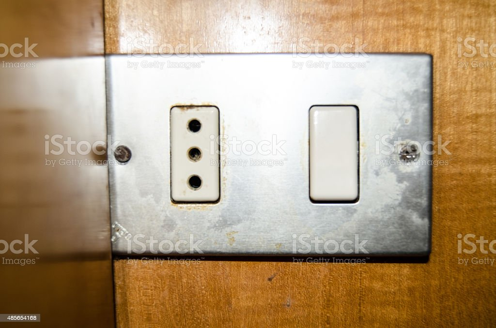 Eruopean 3-pin electrical sockets stock photo