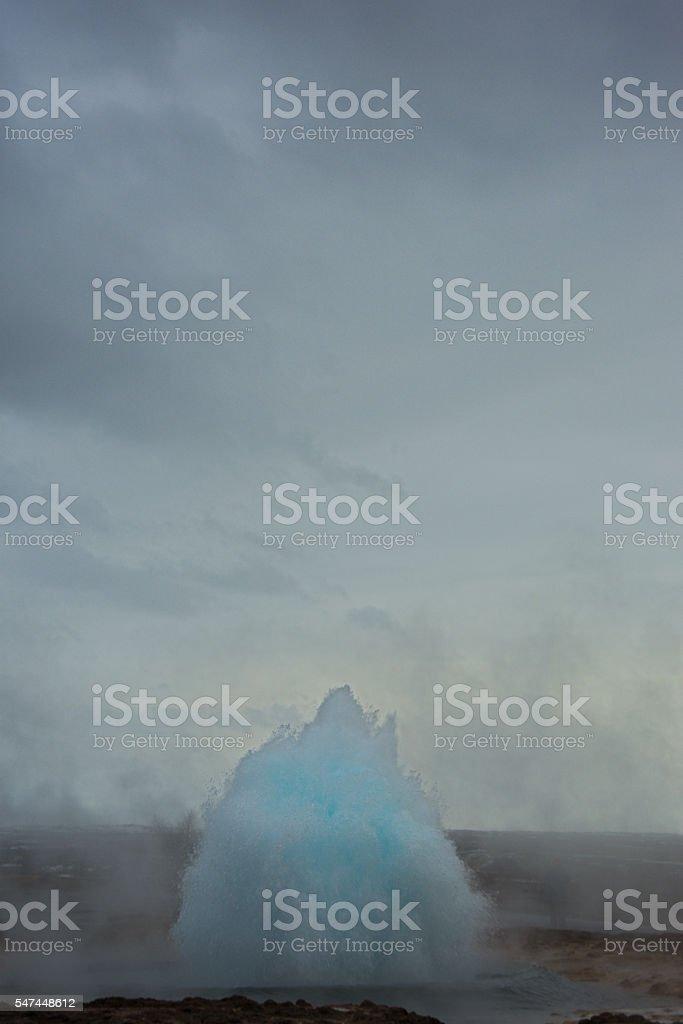 Erupting Geysir stock photo
