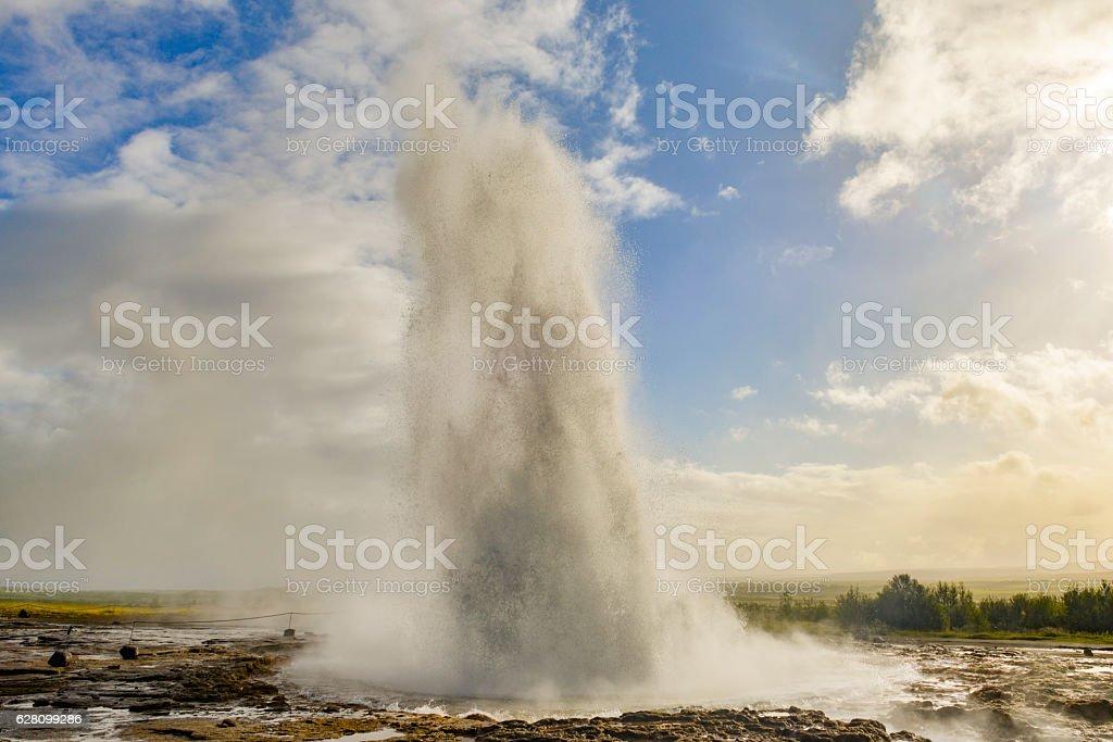 Erupting Strokkuer Geyser in Iceland stock photo