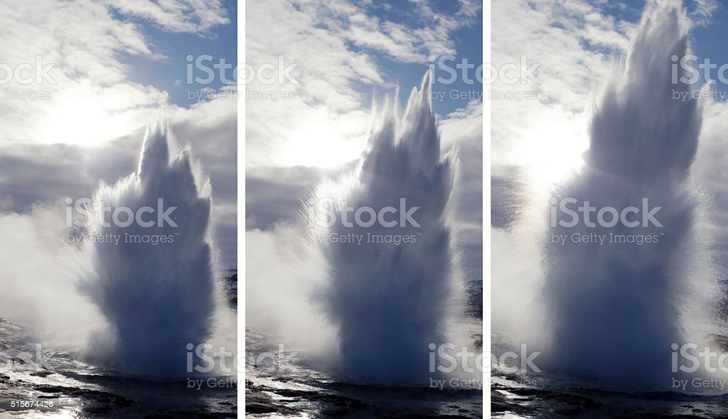 Erupting Strokkur Geyser in Iceland stock photo