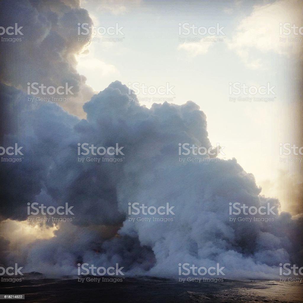 Erupting Suphur Dioxide Smoke Volcano National Park Hawaii stock photo