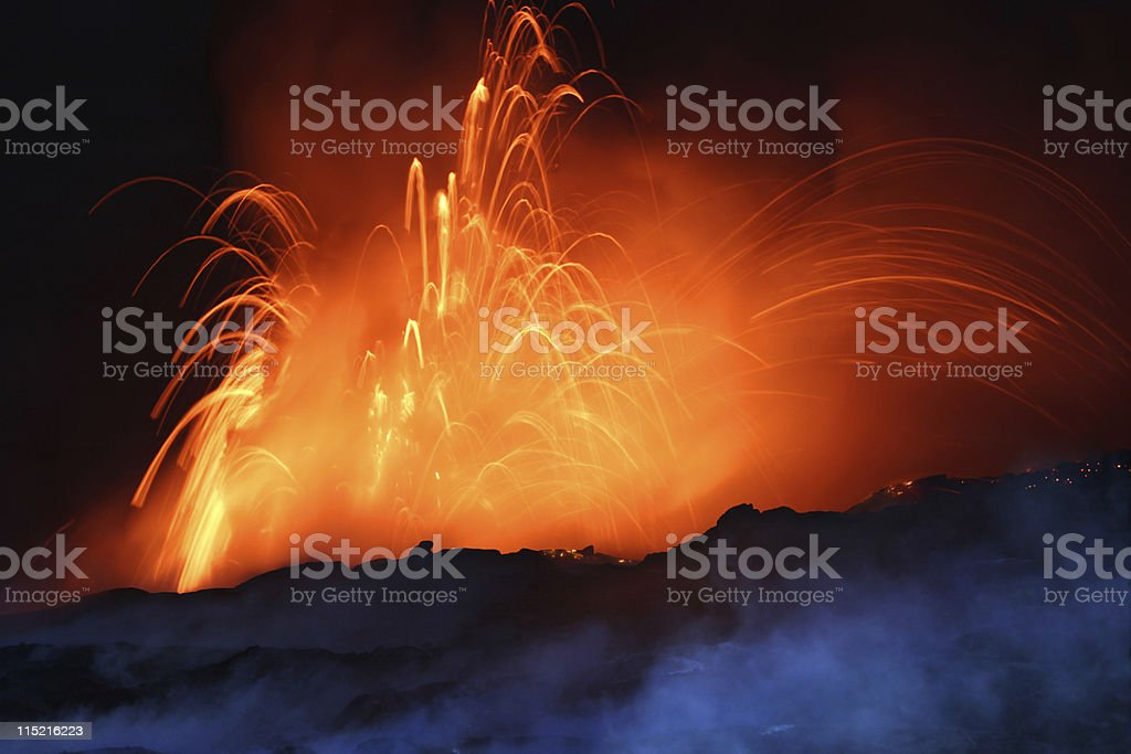 Erupting Volcano at Night royalty-free stock photo