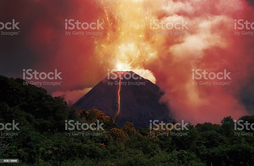 erupting volcano stock photo