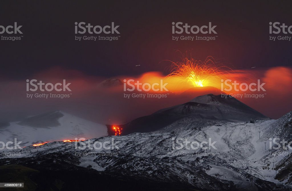Eruption Etna stock photo