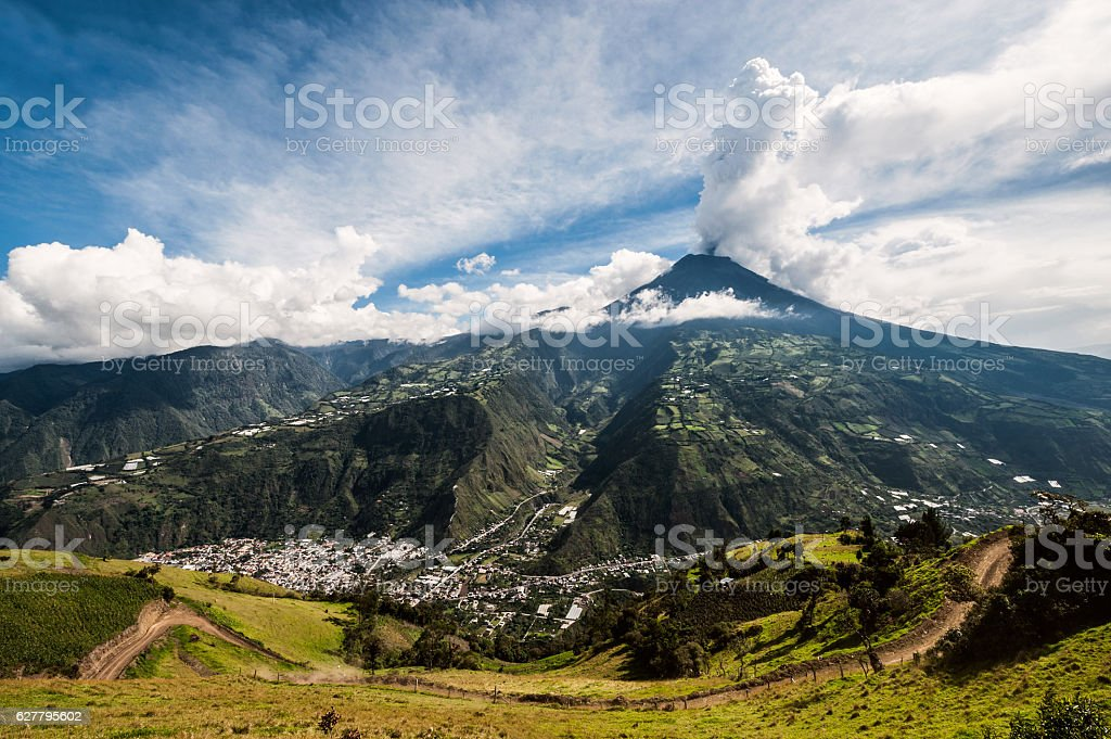 Eruption of a volcano Tungurahua, central Ecuador stock photo