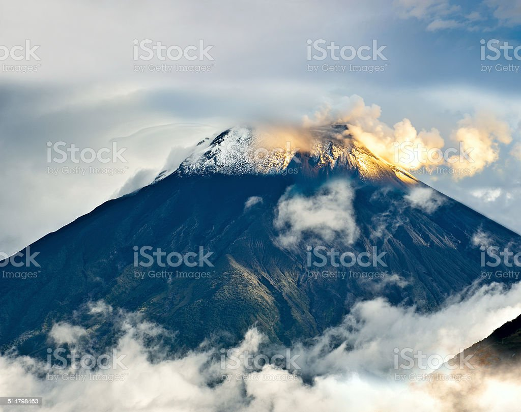 Eruption of a volcano Tungurahua, Ecuador, South America stock photo